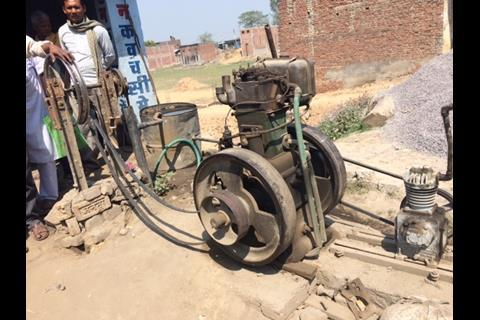 Image depicting a diesel generator used by a shopkeeper in Uttar Pradesh due to poor grid connectivity